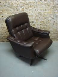Ebay Armchair Vintage Danish Dark Brown Leather Swivel Armchair Retro Chair