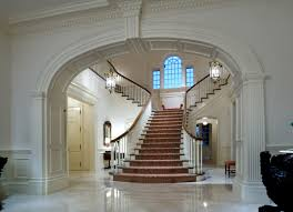 Plantation Style House by Dramatic Dual Sided Grand Staircase White Interiors Of A Greek