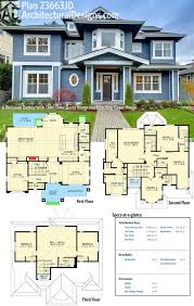 2 home plans plan 23663jd 6 bedroom with third floor room and