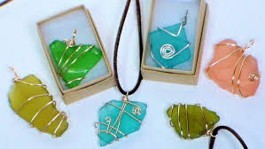 make glass necklace pendants images Diy wire wrapped sea glass pendants jpg
