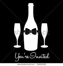 wine bottle bow youre invited chagne bow tie stock vector 218935336