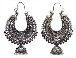 oxidised carved metal hoop with jhumka earrings