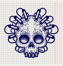 sketched skull of ancient monster or demon vector image