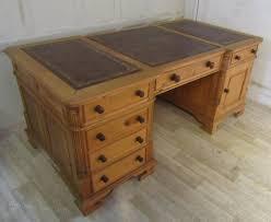 large pine break front pedestal partners desk antiques atlas