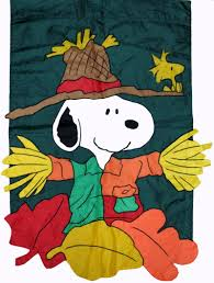 fall snoopy scarecrow flag snoopn4pnuts