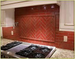 red brick tile backsplash home design ideas