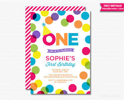 colorful birthday invitation polka dots birthday