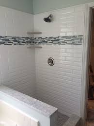 love the beveled subway tile master bathroom for the home