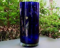 Extra Large Glass Vase Flower Vase Cobalt Blue Crystal Cylinder 11 X 5 Heavy Extra Large Oos