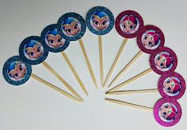 amazon com 8 pink aqua shimmer and shine cupcake toppers for