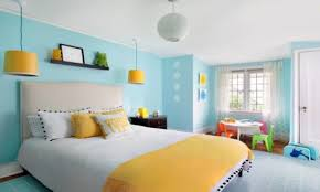 Contemporary Blue Bedroom - awesome bright blue tosca master bedroom paint ideas for master