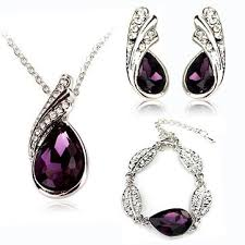 purple earrings teardrop necklace earrings bracelet jewelry set purple