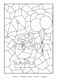 color by number clown coloring page for kids education coloring