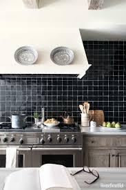 Ceramic Tile Kitchen Backsplash Ideas Black Kitchen Backsplash Porcelain Tiles With Stove And Black