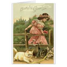 vintage kitten birthday greeting cards zazzle