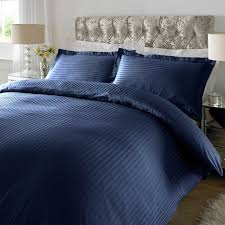 xquisite home sateen stripe 300tc duvet cover set in navy u2013 next
