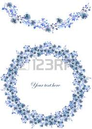 circle frame wreath and garland of blue flowers and branches