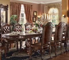 acme 62000 kit vendome dining table set traditional cherry finish