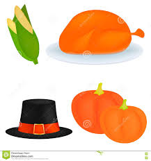 set of icons for thanksgiving dinner is roast turkey stock