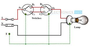 electrical wiring single blub controlled by two way switches light