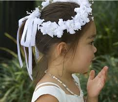 white flower headband flower girl hairstyle ideas with white floral headband png