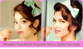 deepika padukone inspired retro updo hairstyle hindi youtube