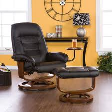 Recliner Chair With Ottoman Bonded Leather Swivel Recliner With Attached Side Table And