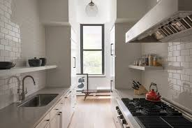 mini subway tile kitchen backsplash retro mini fridge in kitchen scandinavian with quartz countertop