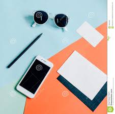 creative flat lay of workspace desk stock photo image 76054580