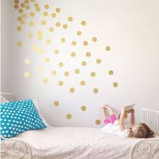 d orer chambre fille polka dot sticker mural or points autocollants stickers