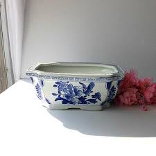 blue and white asian planter pot with greek by encorevintagedecor