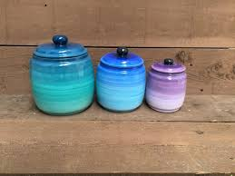 purple kitchen canister sets turquoise blue and purple ómbre kitchen canister set 3 xl
