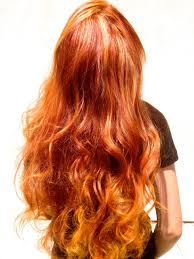 golden orange color ombre balayage french sweaping hand painting highlights