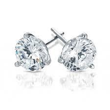 diamond stud earings 1 2 carat diamond stud earrings in 18k white gold 3 prong