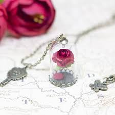 rose flower necklace images Beauty and the beast enchanted rose flower necklace terrarium jpg