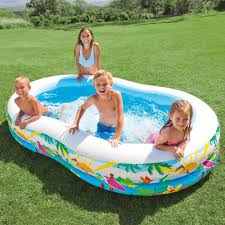 Plastic Swimming Pools At Walmart Amazon Com Intex Swim Center Paradise Inflatable Pool 103