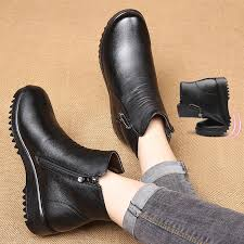 Warm Comfortable Boots Zzpohe Winter Mother Cotton Shoes Women Genuine Leather Flat Ankle