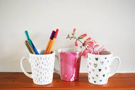 marker and watercolour nail polish mugs