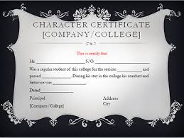 character certificate for college and university students