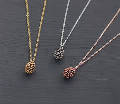 White Gold Personalized Necklace Rose Gold Pine Cone Necklace Length 16 Pendant Size 8 10mm Gold
