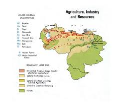 Coal Map Of The World by Detailed Map Of Agriculture Industry And Resources Of Venezuela