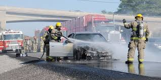fire crews knock down highway 401 car fire outside cobourg