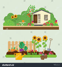 Flowers Gardens And Landscapes by Gardening Set Vector Illustrations Rural Landscape Stock Vector