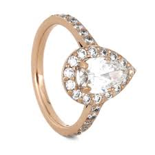 Pear Shaped Wedding Ring by Pear Shaped Moissanite Engagement Ring Diamond Halo Ring In Gold