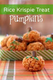 rice crispy treat pumpkins ideas for fall rice krispy treats