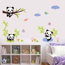chambre bébé panda forêt panda oiseaux de bambou arbre stickers muraux pour les