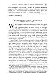 medieval logicians on the meaning of the propositio norman