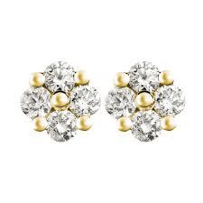 diamond earrings designs 0 11ct f i1 diamond cluster stud earrings with flower design