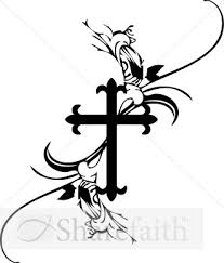 a black and white cross clipart design with stunning scroll