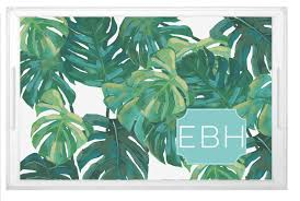 monogramed tray monogrammed big leaves palm tree lucite serving tray shelby